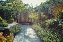 Jardim bonito com a lagoa no sol do outono Imagens de Stock Royalty Free