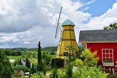 Jardim bonito da paisagem na frente do moinho de vento Fotos de Stock Royalty Free