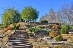 Jardim colorido do jardim ornamental do outono no dia ensolarado brilhante fotografia de stock royalty free