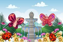 Jardim com animais bonitos Fotos de Stock