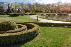 Jardim com paisagem do topiary Ajardinar no parque Imagens de Stock