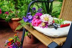 Decora o do carrinho de m o no jardim foto de stock imagem 49092252 for Terras decoratie
