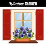Jardim da janela, Pansies do céu azul, obturadores vermelhos ilustração royalty free