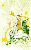 Jardim da mulher & da mola da beleza ilustração do vetor