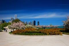 Jardim das proximidades do lago de Chicago fotografia de stock royalty free