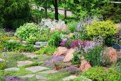 Jardim de rocha alpino Fotos de Stock