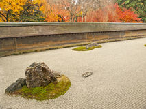 Jardim de rocha famoso do templo de Ryoan-ji, Kyoto imagem de stock