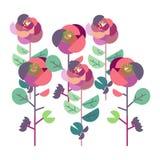 Jardim de rosas colorido com joaninhas ilustração stock