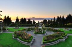 Jardim de rosas de UBC no por do sol Fotos de Stock Royalty Free