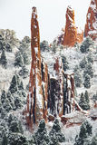 Jardim dos deuses - neve do inverno de Colorado Springs Foto de Stock Royalty Free