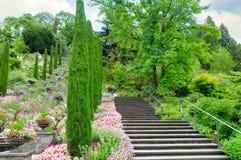 Jardim e outras plantas, uma escadaria e uma cachoeira em t imagem de stock royalty free