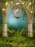 Jardim Enchanted com uma gaiola Fotos de Stock Royalty Free