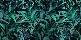 Jardim escuro na noite, flor selvagem de florescência completa no teste padrão sem emenda sazonal floral do vetor de muitas varie ilustração do vetor