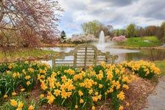 Jardim exterior Virgínia da mola do banco de parque fotos de stock royalty free