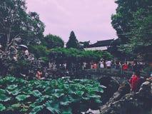 Jardim histórico de China do jardim de Zhuozheng em Suzhou foto de stock