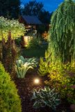 Jardim iluminado na noite foto de stock royalty free