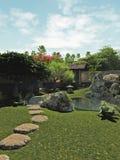 Jardim japonês com casa e lagoa de chá Imagem de Stock Royalty Free