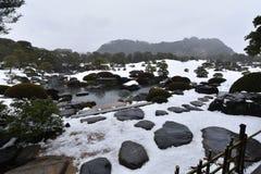 Jardim japonês com neve branca fotografia de stock royalty free