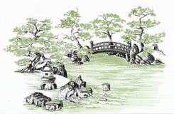 Jardim japonês esboço Fotografia de Stock Royalty Free
