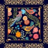 Jardim japonês Pássaros e flores Imagens de Stock Royalty Free