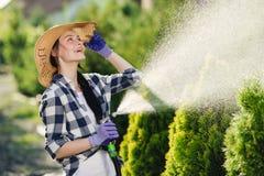 Jardim molhando da mulher nova bonita do jardineiro no dia de verão quente fotografia de stock royalty free