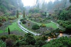 Jardim no crepúsculo Fotos de Stock Royalty Free