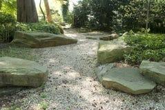 Jardim rochoso com luz filtrada através do dossel Foto de Stock Royalty Free