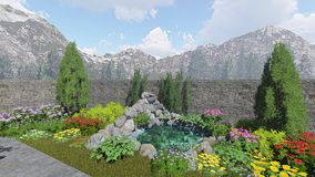 Jardim SC011 da montanha das lagoas ilustração stock