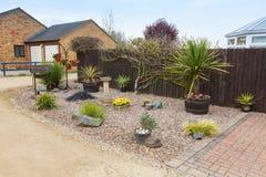 Jardim urbano do jardim ornamental com gramas e arbustos. fotos de stock