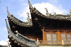 Jardim velho de Yuyuan da parte superior do telhado da cidade de Shanghai, Yu Yuan Park Fotografia de Stock