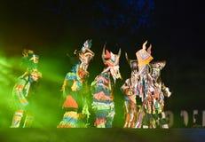 Jardim vermelho 2017 do poinesettia do festival aberto de Phi Ta Khon Dance Show Fotografia de Stock Royalty Free