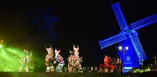 Jardim vermelho 2017 do poinesettia do festival aberto de Phi Ta Khon Dance Show Imagens de Stock Royalty Free