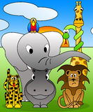 Jardim zoológico dos desenhos animados ilustração stock