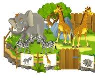 Jardim zoológico dos desenhos animados - parque de diversões - ilustração para as crianças Imagens de Stock
