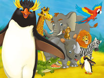 Jardim zoológico dos desenhos animados - parque de diversões - ilustração para as crianças Foto de Stock