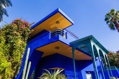 Jardin的Majorelle五颜六色的房子在马拉喀什 库存照片
