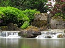 Jardin aménageant des cascades en parc Image stock