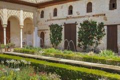 Jardin avec la fontaine sautante Image stock