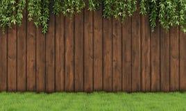Jardin avec la vieille barrière en bois Photographie stock libre de droits
