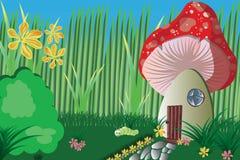 Jardin avec le champignon et les plantes Image libre de droits