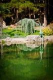 Jardin avec le lac et les statues Photos stock