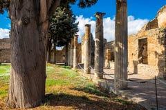 Jardin avec les colonnes antiques sur la villa à Pompeii, ville détruite photo stock