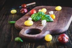 Jardin Basil et tomates d'héritage avec du fromage de mozzarella pour la salade de Caprese photographie stock libre de droits
