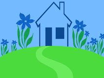 Jardin bleu de maison Photo libre de droits
