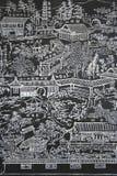 Jardin chinois découpant sur le mur en pierre images libres de droits