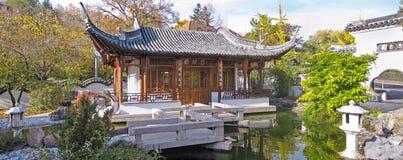 Jardin chinois, panorama de maison de tempel Images stock