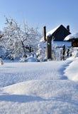 Jardin couvert de neige blanche fraîche et pelucheuse, paysage de l'hiver d'Ural Image stock