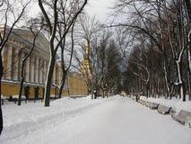 Jardin d'Alexandrovsky en hiver Image libre de droits