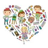 Jardin d'enfants de créativité d'enfants, garçons d'art d'école et filles dessinant et peignant l'école d'art et de conception d' illustration libre de droits