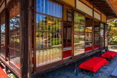 Jardin d'herbes aromatiques médicinal d'Oyakuen dans Aizuwakamatsu, Fukushima, Japon photographie stock